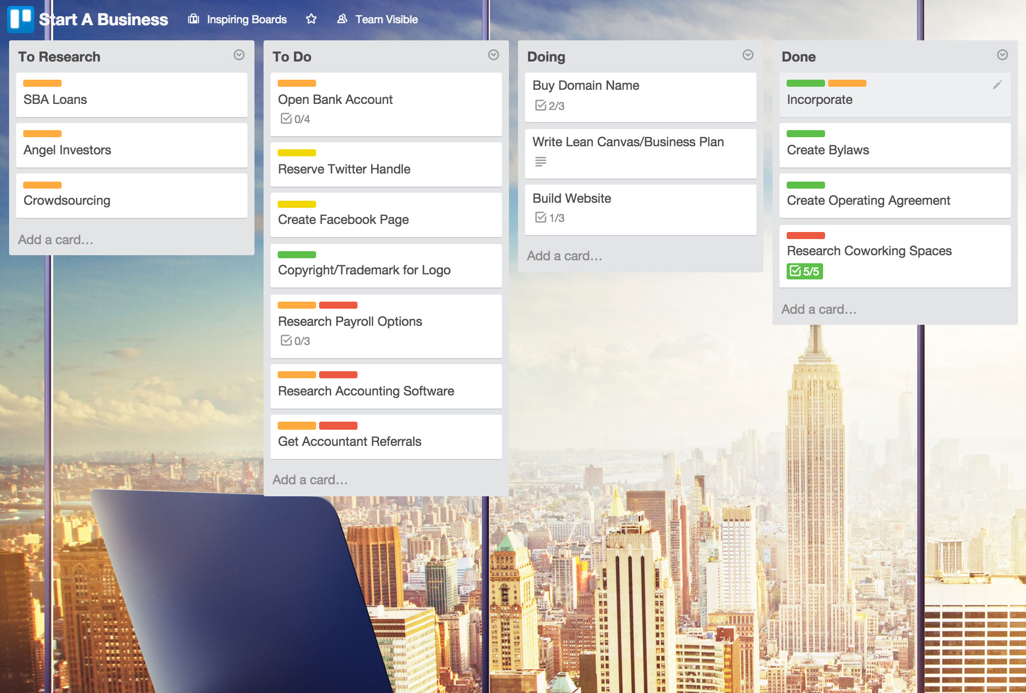 Trello-BusinessPlanningBoard