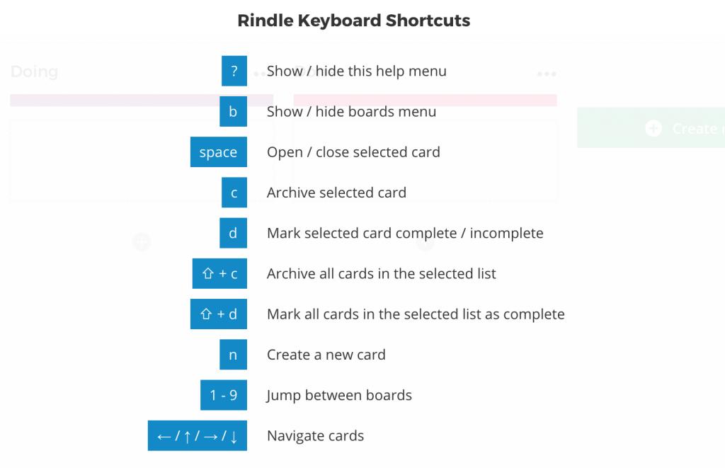 Rindle Keyboard Shortcuts